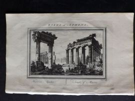 Fenning & Collyer 1765 Antique Print. Ruins at Athens - Temple of Minerva. Greece